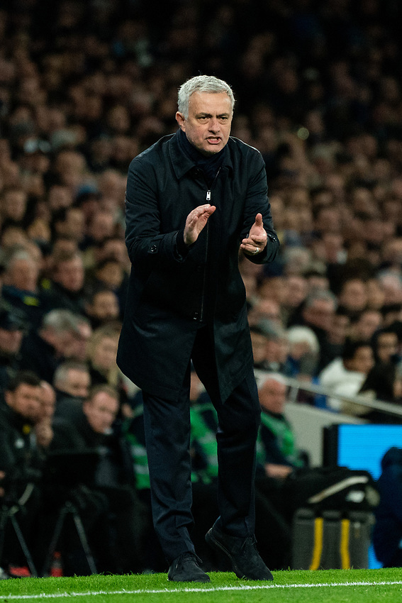 Tottenham Manager Jose Mourinho shouts instructions to his team from the dug-out <br /> <br /> Photographer Stephanie Meek/CameraSport<br /> <br /> The Premier League - Tottenham Hotspur v Liverpool - Saturday 11th January 2020 - Tottenham Hotspur Stadium - London<br /> <br /> World Copyright © 2020 CameraSport. All rights reserved. 43 Linden Ave. Countesthorpe. Leicester. England. LE8 5PG - Tel: +44 (0) 116 277 4147 - admin@camerasport.com - www.camerasport.com