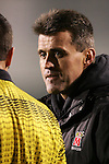11 November 2005: Maryland head coach Sasho Cirovski has words with the referee along the sideline during the second half. Duke University defeated the University of Maryland 4-2 at SAS Stadium in Cary, North Carolina in a semifinal of the 2005 ACC Men's Soccer Championship.
