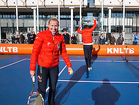 Februari 06, 2015, Apeldoorn, Omnisport, Fed Cup, Netherlands-Slovakia, Draw, Cityhall, streettennis with  Haarhuis and Krajicek<br /> Photo: Tennisimages/Henk Koster