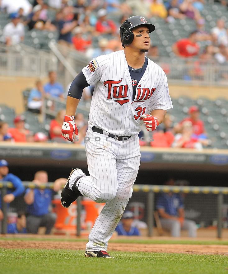 Minnesota Twins Oswaldo Arcia (31) during a game against the Kansas City Royals on August 17, 2014 at Target Field in Minneapolis, MN. The Royals beat the Twins 12-6.