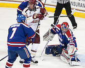 Bill Arnold (BC - 24), Connor Hellebuyck (UML - 37) - The University of Massachusetts Lowell River Hawks defeated the Boston College Eagles 4-2 (EN) on Tuesday, February 26, 2013, at Kelley Rink in Conte Forum in Chestnut Hill, Massachusetts.