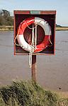 Life saving ring buoyancy aid Ramsholt quay, Suffolk, England