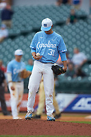 North Carolina Tar Heels relief pitcher Josh Hiatt (31) rolls the ball in his hand during the game against the Florida State Seminoles in the 2017 ACC Baseball Championship Game at Louisville Slugger Field on May 28, 2017 in Louisville, Kentucky. The Seminoles defeated the Tar Heels 7-3. (Brian Westerholt/Four Seam Images)