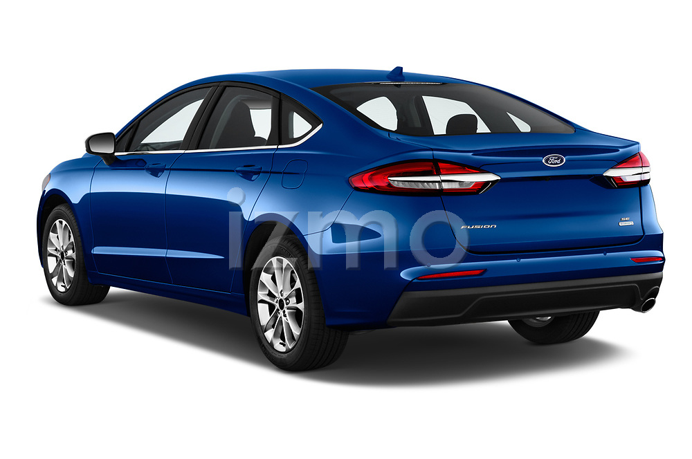 Car pictures of rear three quarter view of 2020 Ford Fusion SE 4 Door Sedan Angular Rear