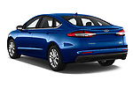 Car pictures of rear three quarter view of 2019 Ford Fusion SE 4 Door Sedan Angular Rear