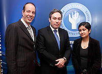 "*** NO FEE PIC***.16/12/2011.(L to R).Anthony RomeroExecutive Director American Civil Liberties Union (ACLU),.Mark Kelly Director Irish Council for Civil Liberties (ICCL),.Shami Chakrabarti Director Liberty,.during the ""The Future of Human Rights Global Techniques Securing Local Impact"" international seminar at The Westbury Hotel, Dublin..Photo: Gareth Chaney Collins"