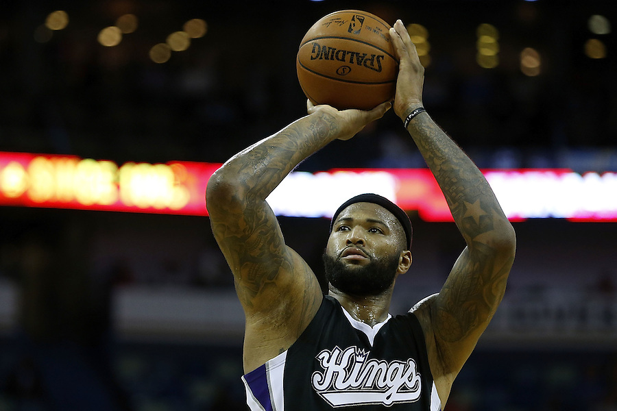 NEW ORLEANS, LA - MARCH 07:  DeMarcus Cousins #15 of the Sacramento Kings shoots the ball during a game at Smoothie King Center on March 7, 2016 in New Orleans, Louisiana. NOTE TO USER: User expressly acknowledges and agrees that, by downloading and or using this photograph, User is consenting to the terms and conditions of the Getty Images License Agreement.  (Photo by Jonathan Bachman/Getty Images)