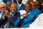 DURBAN - 4 December 2016 - South Africa's President Jacob Zuma (left, dark suit) and Professor Caesar Nongqunga (right, blue suit), the leader of the 4.5 million strong Twelve Apostles Church in Christ at a thanksgiving service in Durban's Moses Mabhida Stadium. Nongqunga later urged church members to deposit their savings into the same bank that had earlier in the year given Zuma a loan to repay the the government for controversial non-security upgrades to his personal residence in Nkandla. Picture: Allied Picture Press/APP