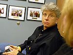 Audrey Tiernan in Newsday Photo Department staff meeting on Tuesday May 16, 2006. (Photo Copyright Jim Peppler 2006).
