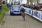 Marta Tagliaferro (ITA) Hitec Products-Birk Sport on the Padderstraat during the Women Elite 2019 Ronde Van Vlaanderen Dames running 150km from Oudenaarde to Oudenaarde, Belgium. 7th April 2019.<br /> Picture: Eoin Clarke | Cyclefile<br /> <br /> All photos usage must carry mandatory copyright credit (© Cyclefile | Eoin Clarke)