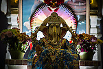 © Joel Goodman . 18 May 2013 . Gita Bhavan Hindu Temple , Withington Road , Whalley Range , Manchester . Statue of Ganesha at the temple . Commemorative service to celebrate the handover of the Green Kumbh Yatra (green journey pot or environmental pilgrimage) at the Gita Bhavan Hindu Temple in Manchester . The pot has travelled to the Maha Kumbh Mela , Kenya , Nepal and the Western Wall in Jerusalem along the way . At every place of rest an environmental action must be taken to reflect the pot's environmental significance . It's due to travel to Leicester and feature in an outdoor procession in London on 24th May 2013 . Photo credit : Joel Goodman