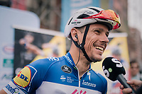 Philippe Gilbert (BEL/Quick Step floors) interviewed pre-race with himself on the race poster behind him<br /> <br /> Belgian National Championships 2018 (road) in Binche (224km)<br /> ©kramon