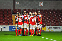 Fleetwood Town celebrate the opening goal during the The Leasing.com Trophy match between Fleetwood Town and Liverpool U21 at Highbury Stadium, Fleetwood, England on 25 September 2019. Photo by Stephen Buckley / PRiME Media Images.