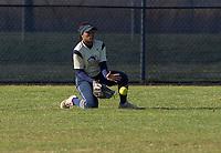 NWA Democrat-Gazette/BEN GOFF @NWABENGOFF<br /> Jazmine Dodd, Bentonville West center fielder, fields a ground ball Tuesday, April 10, 2018, during the game against Bentonville at Bentonville West's Wolverine Athletic Complex in Centerton.