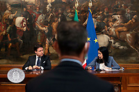 The Italian Premier Giuseppe Conte and the Minister of Instruction Lucia Azzolina during a press conference at Palazzo Chigi to explain the new measures for the School. Rome (Italy), June 26th 2020<br /> Foto Pool Antonio Masiello/ Insidefoto