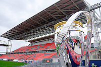 Toronto, ON, Canada - Thursday Dec. 08, 2016: An oversized version of the MLS cup on display at BMO Field during a press conference prior to MLS Cup at BMO Field.