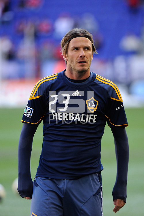 David Beckham (23) of the Los Angeles Galaxy during warmups prior to the 1st leg of the Major League Soccer (MLS) Western Conference Semifinals against the New York Red Bulls at Red Bull Arena in Harrison, NJ, on October 30, 2011.