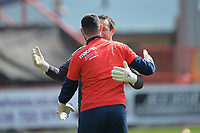 Tom King of Stevenage and David Forde of Cambridge United during Stevenage vs Cambridge United, Sky Bet EFL League 2 Football at the Lamex Stadium on 14th April 2018