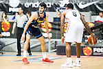 Spain's basketball player Alex Abrines and Angola's basketball player Carlos Morais during the first match of the preparation for the Rio Olympic Game at Coliseum Burgos. July 12, 2016. (ALTERPHOTOS/BorjaB.Hojas)