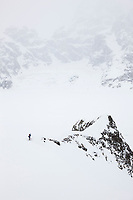Back country skiing on the ruth glacier, Alaska Range mountains, Interior, Alaska.