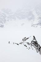 Back country skiing on the ruth glacier, Alaska Range mountains, Interior, Alaska.