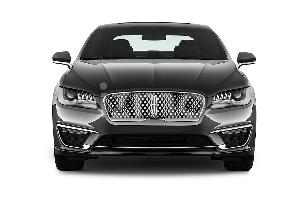 Car photography straight front view of a 2018 Lincoln MKZ Hybrid-Select 4 Door Sedan Front View