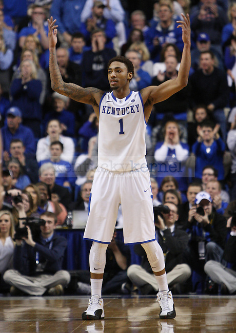 UK guard/forward James Young (1) encourages the crowd to cheer during second the half of UK Men's Basketball vs. Ole Miss at Rupp Arena in Lexington, Ky., on Tuesday, February 4, 2014. Photo by Emily Wuetcher | Staff