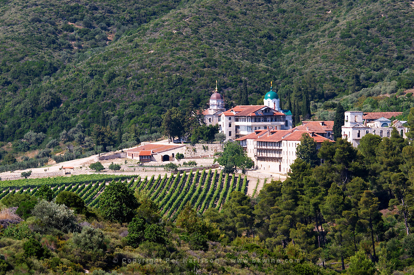 The Tsantalis sponsored monastery. Mount Athos. Tsantali Vineyards & Winery, Halkidiki, Macedonia, Greece. Metoxi Chromitsa of St Panteleimon monastery.