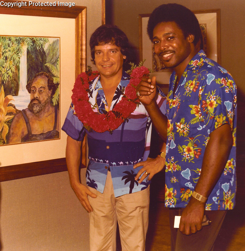 Guy Buffet and George Benson at one of Guy's many gallery events on Maui.