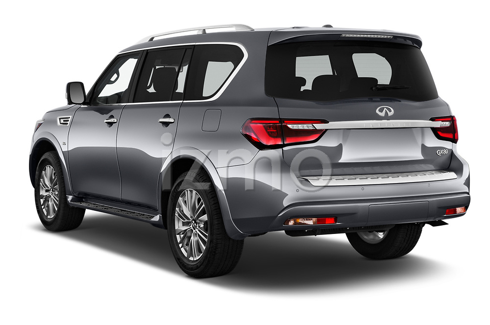 Car pictures of rear three quarter view of a 2020 Infiniti QX80 Luxe 5 Door SUV angular rear