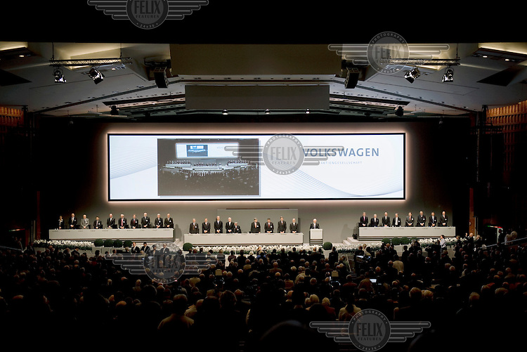 Ferdinand Piech, head of the board of Volkswagen AG, gives a speech at the annual shareholders meeting of Volkswagen AG.