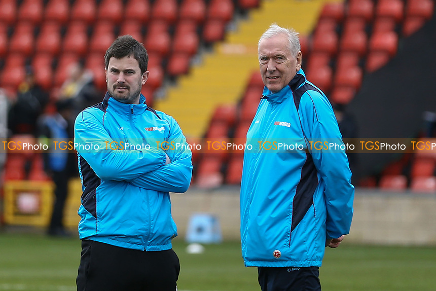 Woking assistant manager Ian Dyer (left)  and Woking assistant manager Martin Tyler during Woking vs Watford, Emirates FA Cup Football at The Laithwaite Community Stadium on 6th January 2019