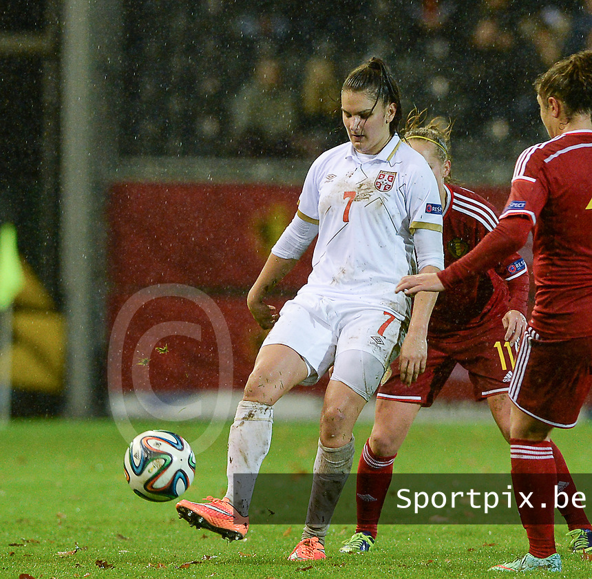 20151130 - LEUVEN ,  BELGIUM : Serbian Jovana Damnjanovic pictured during the female soccer game between the Belgian Red Flames and Serbia , the third game in the qualification for the European Championship in The Netherlands 2017  , Monday 30 November 2015 at Stadion Den Dreef  in Leuven , Belgium. PHOTO DAVID CATRY