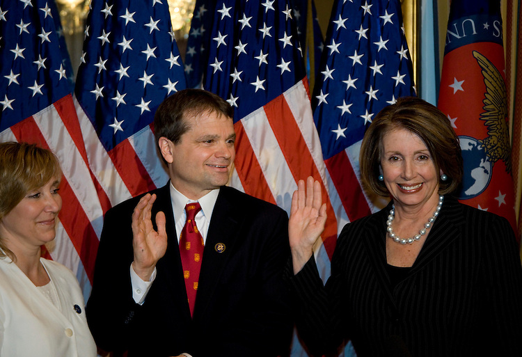WASHINGTON, DC - April 21:  Speaker of the House Nancy Pelosi (D-Calif), right, with the House's newest member, Rep. Mike Quigley (D-Ill.) and his wife, Barbara. (Photo by Ryan Kelly/Congressional Quarterly)