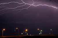 Lightning at night over Oklahoma City