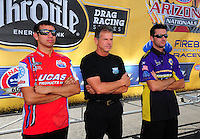 Oct. 16, 2011; Chandler, AZ, USA; NHRA pro stock motorcycle riders Hector Arana Jr (left), Jerry Savoie (center) and pro stock driver Vincent Nobile during the Arizona Nationals at Firebird International Raceway. Mandatory Credit: Mark J. Rebilas-
