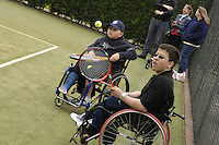 Queens Club, GREAT BRITAIN,   Wheel chair Tennis, Ben, check's out his near game.  Before the  press Conference to announce the joint initiative between British Paralympic Association and Deloitte  of 'www.Parasport.org.uk' online information service, on Thur's.  03.05.2007. London. [Credit: Peter Spurrier/Intersport Images]
