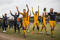 Newport players including Tom Owen-Evans (20), Marlon Jackson, Sean Rigg and Mark O'Brien celebrate with the fans during a lap of honour at full time of the Sky Bet League 2 match between Newport County and Notts County at Rodney Parade, Newport, Wales on 6 May 2017. Photo by Mark  Hawkins / PRiME Media Images.