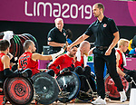 Lima, Peru -  23/August/2019 -  Head coach Patrick Cote celebrates the win as Canada takes on Argentina in wheelchair rugby at the Parapan Am Games in Lima, Peru. Photo: Dave Holland/Canadian Paralympic Committee.