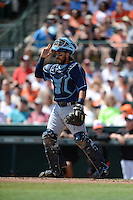 Tampa Bay Rays catcher Rene Rivera (44) during a Spring Training game against the Baltimore Orioles on March 14, 2015 at Ed Smith Stadium in Sarasota, Florida.  Tampa Bay defeated Baltimore 3-2.  (Mike Janes/Four Seam Images)