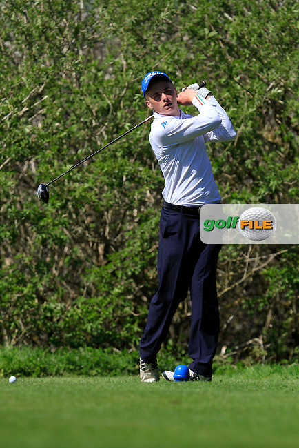 James Sugrue (Mallow) on the 15th tee during Day 1 of The Munster Youths' Amateur Open Championship in Dungarvan Golf Club on Wednesday 23nd April 2014.<br /> Picture:  Thos Caffrey / www.golffile.ie