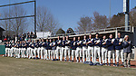 CARY, NC - MARCH 05: Notre Dame players, coaches, and staff stand for the national anthem. The Monmouth University Hawks played the University of Notre Dame Fighting Irish on March 5, 2017, at USA Baseball NTC Field 2 in Cary, NC in a Division I College Baseball game, and part of the Irish Classic tournament. Notre Dame won the game 4-0.