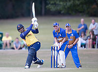 Rishi Patel of Essex lofts high over wide long on during Upminster CC vs Essex CCC, Benefit Match Cricket at Upminster Park on 8th September 2019