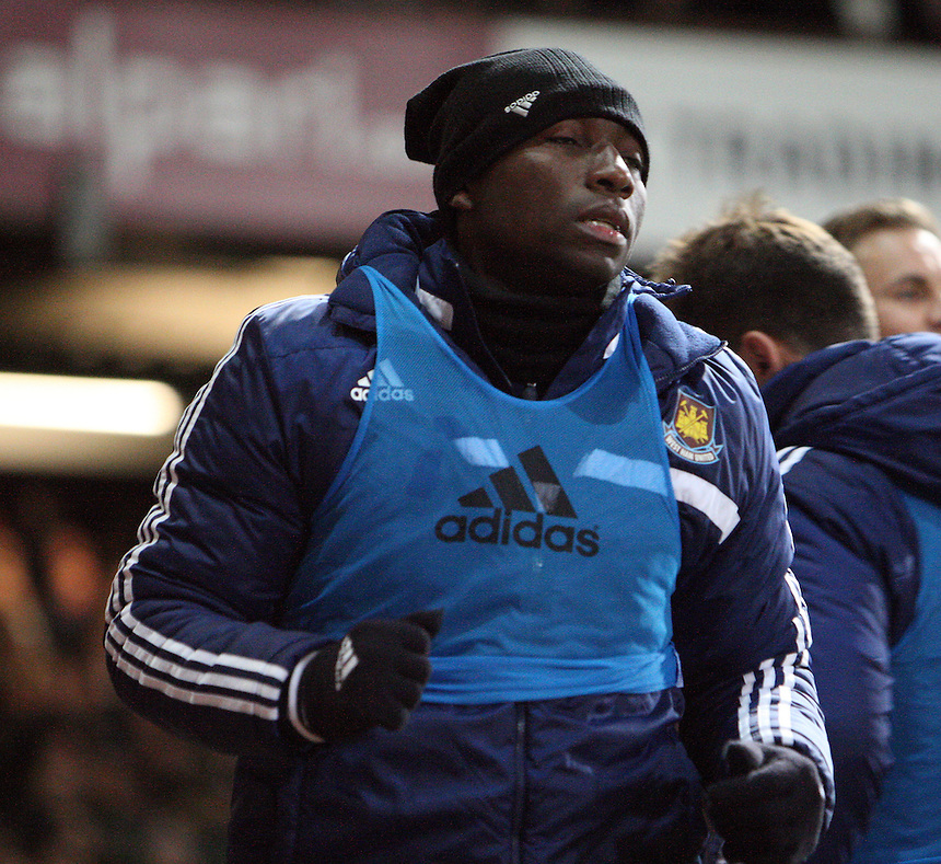 West Ham United's Pablo Armero during the pre-match warm-up <br /> <br /> Photo by Kieran Galvin/CameraSport<br /> <br /> Football - Barclays Premiership - West Ham United v Norwich City - Tuesday 11th February 2014 - Boleyn Ground - London<br /> <br /> &copy; CameraSport - 43 Linden Ave. Countesthorpe. Leicester. England. LE8 5PG - Tel: +44 (0) 116 277 4147 - admin@camerasport.com - www.camerasport.com