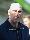 30th September 2017, Welford Road, Leicester, England; Aviva Premiership rugby, Leicester Tigers versus Exeter Chiefs;  Lawrence Dallaglio prepares to broadcast for BT Sport TV