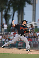Layne Somsen #25 of the Bakersfield Blaze pitches against the Inland Empire 66ers at San Manuel Stadium on August 21, 2014 in San Bernardino, California. Bakersfield defeated Inland Empire, 4-0. (Larry Goren/Four Seam Images)