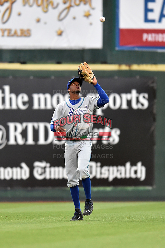 Hartford Yard Goats left fielder Rosell Herrera (7) during a game against the Richmond Flying Squirrels at The Diamond on April 30, 2016 in Richmond, Virginia. The Yard Goats defeated the Flying Squirrels 5-1. (Tony Farlow/Four Seam Images)