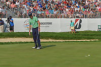 Justin Thomas (USA) barely misses his birdie putt on 18 during 4th round of the World Golf Championships - Bridgestone Invitational, at the Firestone Country Club, Akron, Ohio. 8/5/2018.<br /> Picture: Golffile | Ken Murray<br /> <br /> <br /> All photo usage must carry mandatory copyright credit (© Golffile | Ken Murray)