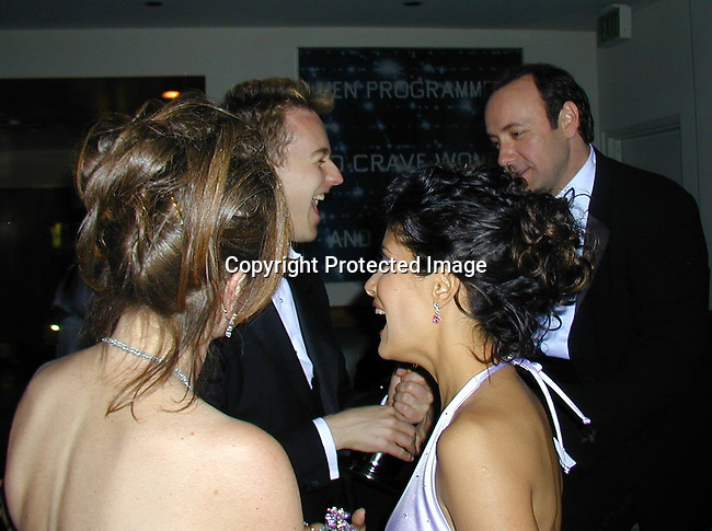 Ed Norton, Kevin Spacey &amp; Salma Hayek<br />2000 Vanity Fair Post Oscar Party<br />Morton's Restaurant<br />Los Angeles, California, USA<br />March 26, 2000<br />Photo by Celebrityvibe.com