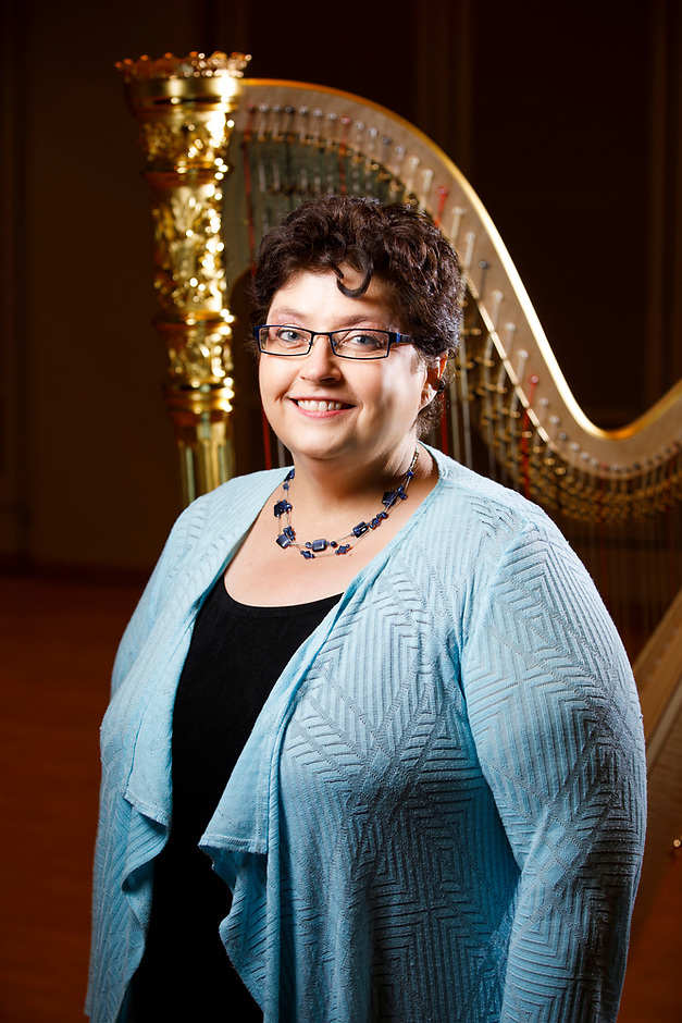 USA International Harp Competition Board of Directors member Debra Pekin poses for a portrait during the 11th USA International Harp Competition at Indiana University in Bloomington, Indiana on Saturday, July 13, 2019. (Photo by James Brosher)